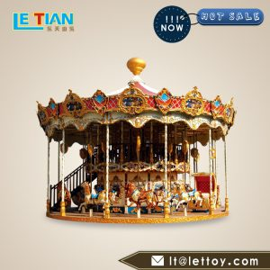 Double Deck Carousel, carousel is made of fiberglass and has a novel design and attracts customers. It is loved by consumers.