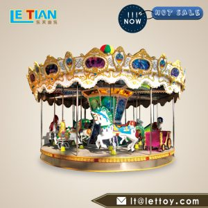 Single layer luxury carousel, the appearance of novel, colorful, is a young friend is very fond of the ride of the game machine.